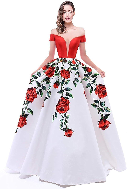 BessWedding Floral Print VNeck Prom Dresses Women Off The Shoulder Evening Ball Gowns BPS174