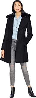 Womens Fit & Flare Coat Faux