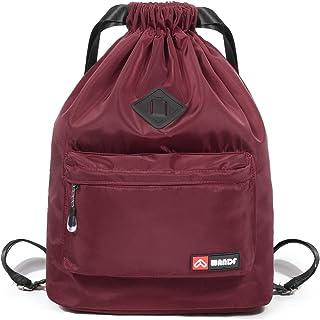 WANDF Turnbeutel Sportbeutel Gym Bag Mit Aussentasche Verstellbar Tunnelzug Gym Sack Rucksack für Damen Herren Kinder