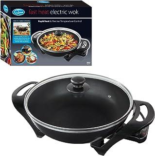 Quest Wok électrique anti-adhésif avec couvercle - Chauffage rapide avec contrôle précis de la température - 1500 W - Noir...