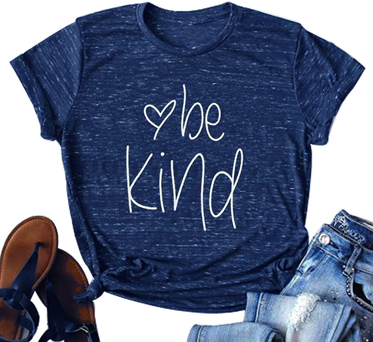 Be Kind Shirts for Women Funny Letter Print Short Sleeve Inspirational Summer Blessed Graphic Tee Casual Tops