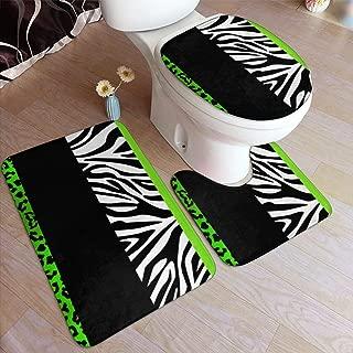 Lime Green Leopard and Zebra Animal Print Bathroom Mat Sets 3 Piece/Set Rugs Memory Foam Mat Set Matches Anti-Skid Toilet Seat Cover Bath Mat Lid Cover