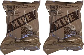 TWO (2) NEW MRE's 2020 - 2021 1st Insp. date - US Military Meals Ready-to-Eat w/FREE DESSERT! (Two 3's - Chicken w/Noodles)