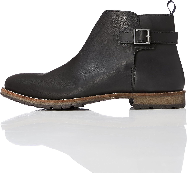 FIND Men's Leather Back Strap Boots