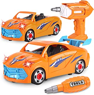 REMOKING Take Apart Racing Car,Kids 2 in 1 Remote Control Car Toy for Education,Pretend Play Toy with Electric Drill,Sound...