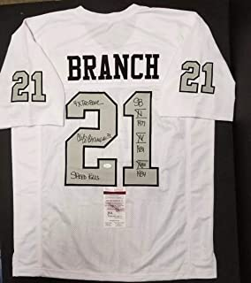 CLIFF BRANCH Autographed Oakland Raiders Custom White XL Jersey. WITNESS - JSA Certified - Autographed NFL Jerseys