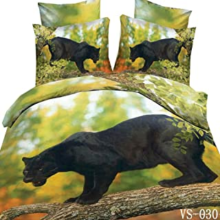 EsyDream 3D Oil Painting Animal Black Panther Duvet Cover Sets,Queen Size 4 Pieces