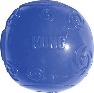 KONG - Squeezz Ball - Strong Squeaky Dog Toy, Bounces & Squeak When Punctured (Assorted Colours) - For Medium Dogs