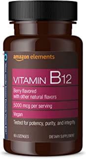 Amazon Elements Vitamin B12 Methylcobalamin 5000 mcg - Normal Energy Production and Metabolism, Immune System Support - 2 ...