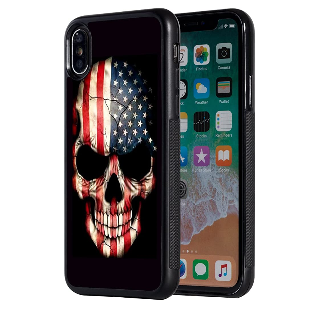iPhone Xs Max Case,AIRWEE Slim Anti-Scratch Shockproof Silicone TPU Back Protective Cover Case for Apple iPhone Xs Max 2018,American Flag Skull