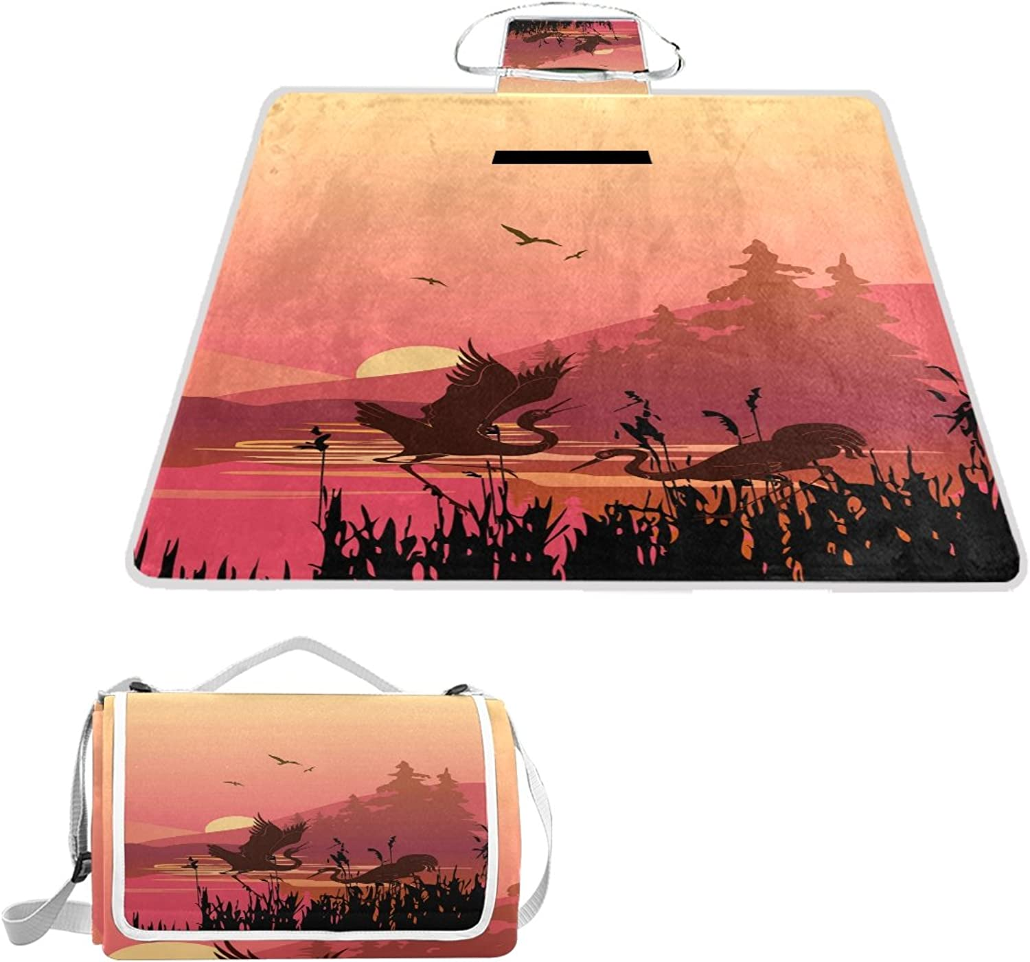 LiKai Picnic Blanket Happiness Cranes Foldable Portable Waterproof Outdoor Travelling Camping Beach Mat