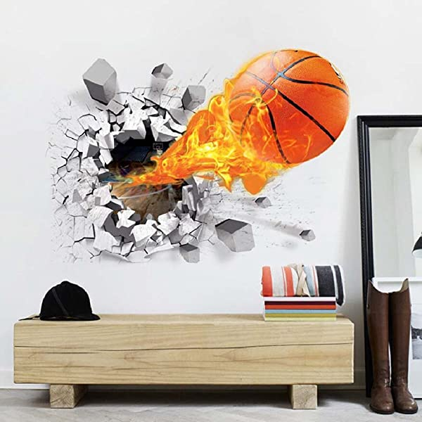 Test Rite 3D Removable Self Adhesive Broken Wall Vinyl Wall Sticker Mural Art Decals Decorator Nursery Kids Birthday D Cor Favor Gift Lucky Basketball 19 7 X27 6 50x70cm