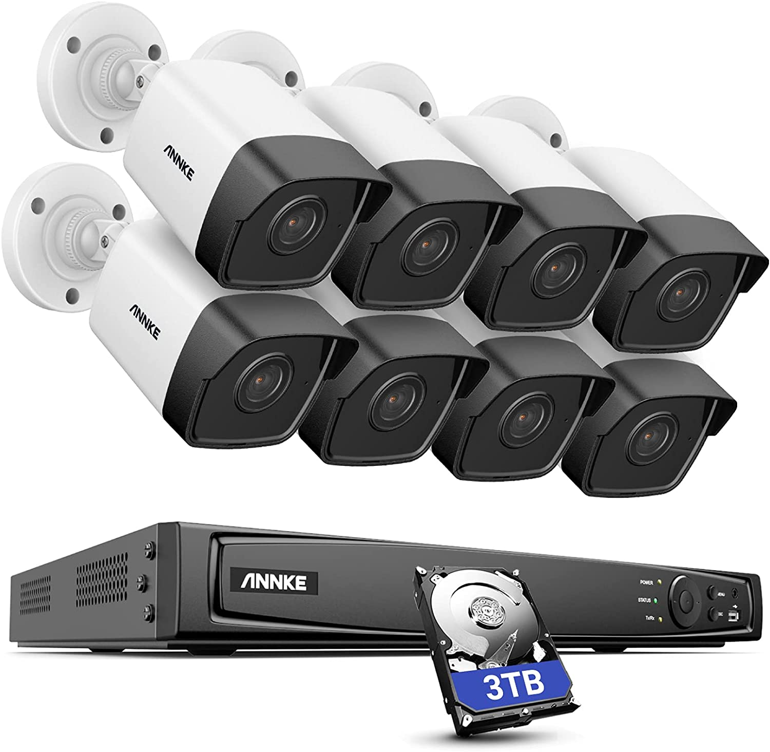 ANNKE H500 16CH Bullet PoE Security Camera System w/ 4K H.265+ NVR, 8X 5MP Outdoor IP Camera, 3TB HDD, Audio Recording, 100ft EXIR 2.0 Color Night Vision, IP67 Weatherproof, Remote Access