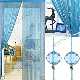 UNIAI Tassel Curtains Door Beads Curtains - String Curtain 100x200cm Bead Curtain for Doorway Thread Fringe Window Panel Room Divider Cute Strip Tassel Party Events