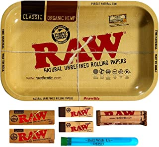 RAW Rolling Tray Combo Includes Tray, 1 1/4 Classic Rolling Papers, 79 mm Rolling..