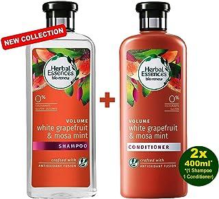 HERBAL ESSENCES Bio Renew Volume White GRAPEFRUIT & MOSA MINT Shampoo & Balsamo 2 X 400 ML – con pompelmo & menta Mosa