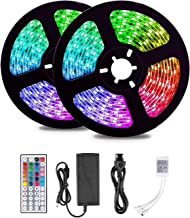 Led Strip Lights 5m with 44 Keys IR Remote and 12V Power Supply Flexible Color Changing 5050 RGB 300 LEDs Light Strips Kit...