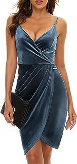 Sponsored Ad - ZABERRY Women Velvet Wrap Midi Wedding Guest Dress Adjustable Strap Bodycon Cocktail Dress