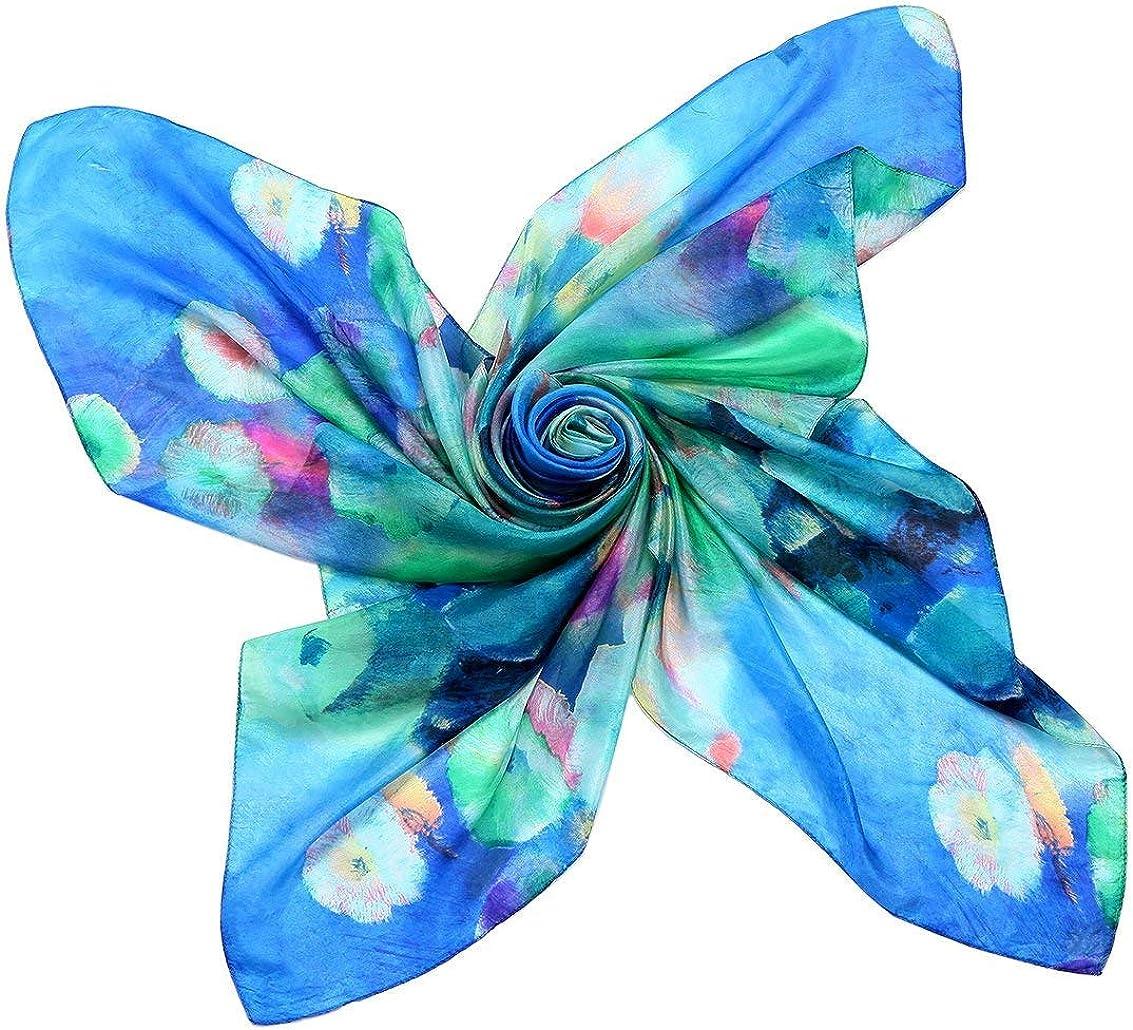 Women Silk Scarf Floral Oversize Scarves Soft Dress Wraps Long Lightweight Shawls