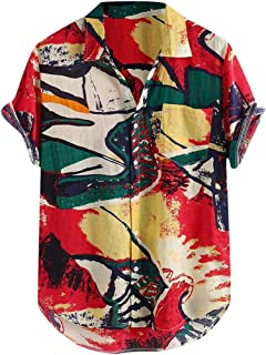 Mens Summer Unique Printed Chest Pocket Turn Down Collar Short Sleeve Loose Shirt Blouse Tops
