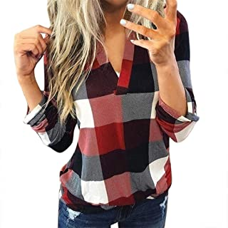 Female Plaid T-Shirts Casual V-Neck Blouse Ladies Long Sleeve Tops Women's Lapel Neck Shirt Baggy Top