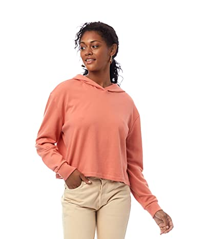 Alternative Lightweight French Terry Cropped Pullover Hoodie (Sunset Coral) Women