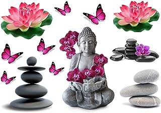 Stickers DECORATIFS Zen DETENTE Senteur Fleur BOUDHA Relaxation Papillon à découper (Planche à Stickers Dimensions 21x28cm...