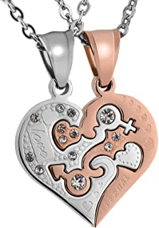 His and Hers Matching Set Stainless Steel Half Heart Pendant with Cross Puzzle Necklaces