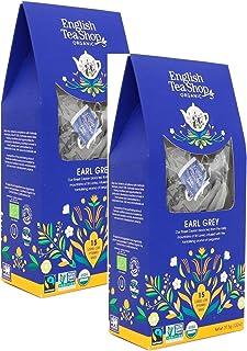 English Tea Shop Tè Nero Biologico Earl Grey Aromatizzato al Bergamotto in Eco-Box - 2 x 15 Piramidi di Tè 75 Grammi