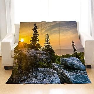 BEIVIVI Super Soft Warm Cozy Blanket Sunrise at Bear Rocks Preserve in Dolly Sods Wilderness Monon All Season Blanket for Bed Or Sofa, Easy Care