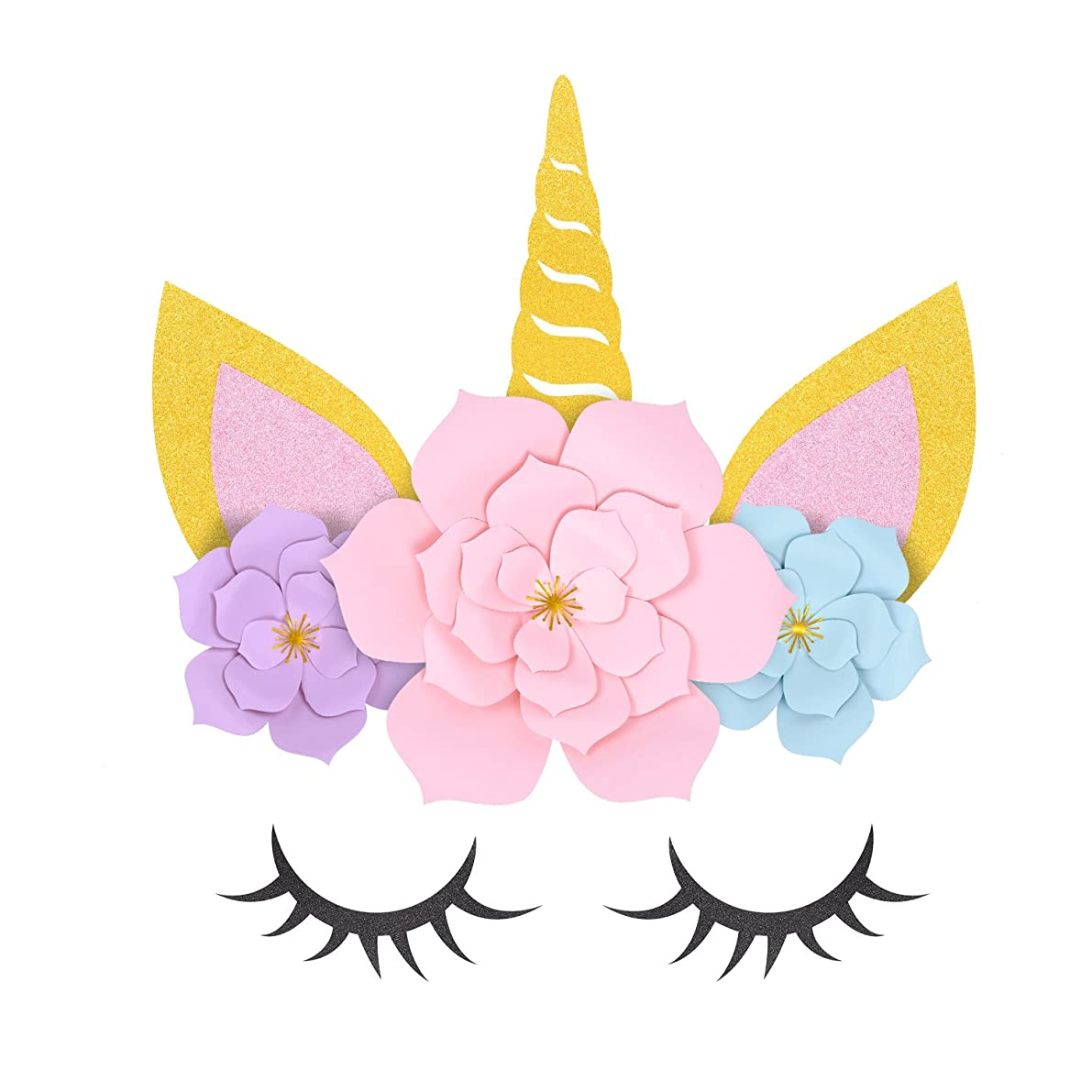 MORDUN Unicorn Party Supplies & Decorations Backdrop For Girls Birthday Party Baby Shower - DIY Unicorn Flower Backdrop