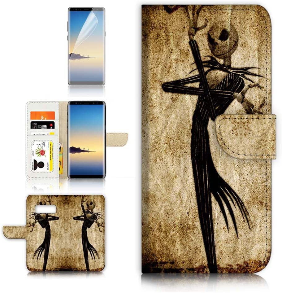 (for Samsung Note 8, Galaxy Note 8) Flip Wallet Case Cover & Screen Protector Bundle! A1369 Nightmare Before Christmas