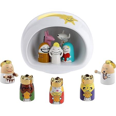 Alessi AMGI10SET Crèche Design en Porcelain Decorè à La Main avec Reproduction de la Grotte et Set Complet de Figurines, 10 Pièces