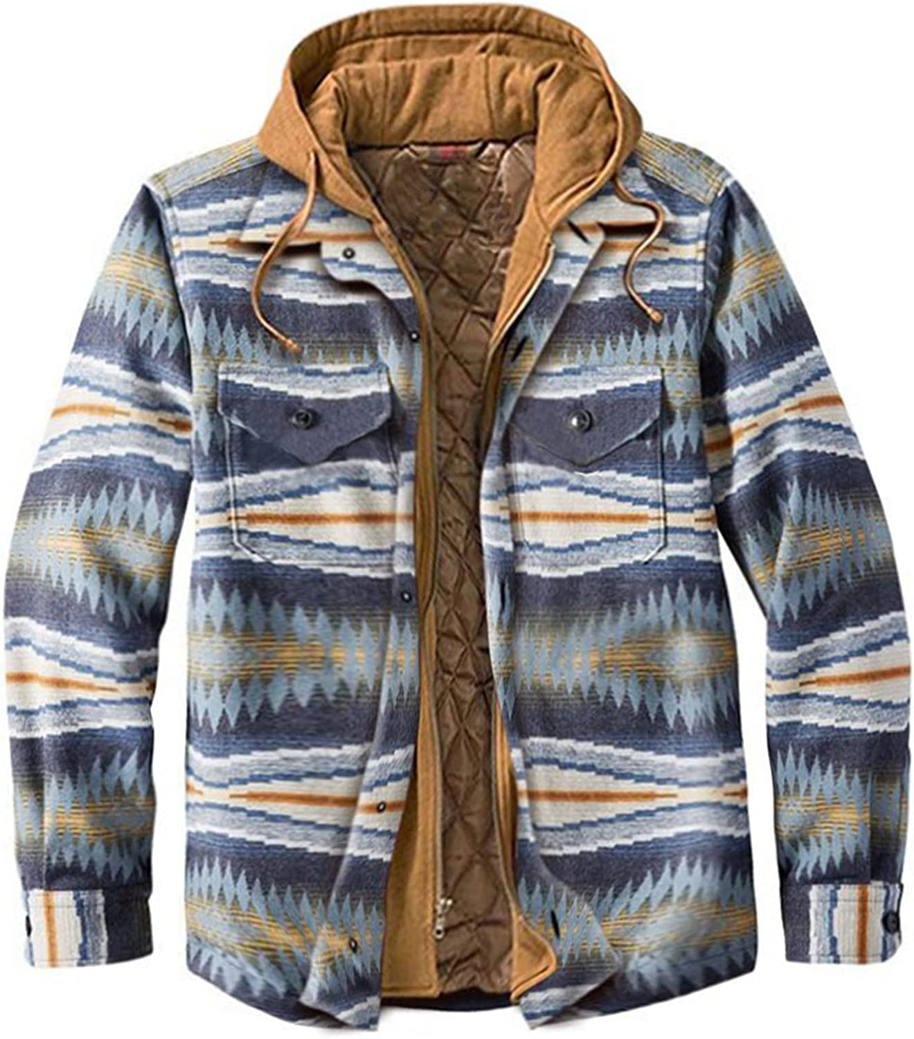CHENGSE Winter Coats Jackets for Men Big and Tall Sherpa Fleece Lined Hooded Shirt Jacket Maplewood Flannel Shirt Jackets