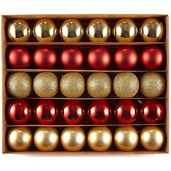 HEITMANN DECO Navidad - Juego de 30 Bolas de Navidad - Decoraciones navideñas Rojas y Doradas para Colgar del árbol de Navidad - Surtido de Bolas de plástico Resistentes a la Rotura: Amazon.es: Hogar