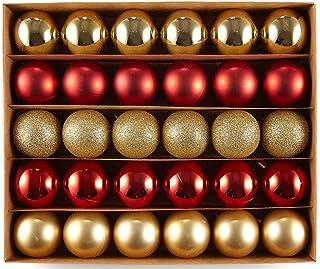 HEITMANN DECO Navidad - Juego de 30 Bolas de Navidad - Decoraciones navideñas Rojas y Doradas para Colgar del árbol de Navidad - Surtido de Bolas de plástico Resistentes a la Rotura
