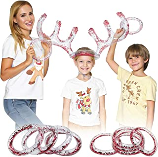 Dynoson 2 Sets of Inflatable Reindeer Antler Hat Ring Toss Game Christmas Party Games, Christmas Party Antler Hat Game for...