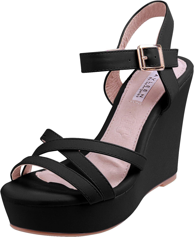Enimay Women's Casual Open Toe Wedge Heel Dress shoes Adjustable Heel Strap