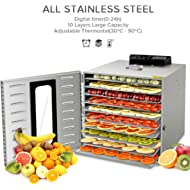 Commercial Stainless Steel Food... Commercial Stainless Steel Food Dehydrator-Raw Food & Jerky Fruit Dehydrator-1000W Preserve Food...