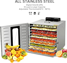 Commercial Stainless Steel Food Dehydrator-Raw Food & Jerky Fruit Dehydrator-1000W Preserve Food Nutrition Professional Household Vegetable Dryer,with 0~24 Hours Digital Timer (10 Trays)