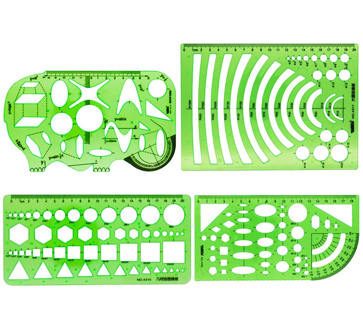 MAMUNU 4PCS Plastic Clear Green Color Measuring Templates Geometric Rulers for Office and School, Building formwork, Drawings Templates