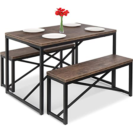 Amazon Com Best Choice Products 45 5in 3 Piece Bench Style Dining Table Furniture Set 4 Person Space Saving Dinette For Kitchen Dining Room W 2 Benches Table Brown Black Furniture Decor