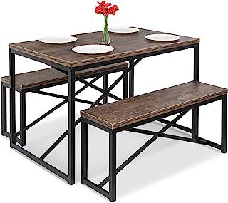 بهترین انتخاب محصولات مبلمان میز ناهارخوری نیمکت 3 تکه 45.5 اینچ ، ناهار خوری 4 نفره برای آشپزخانه ، اتاق ناهارخوری با 2 نیمکت ، میز-قهوه ای/ مشکی