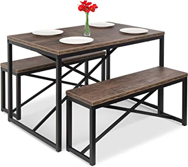 Best Choice Products 45.5in 3-Piece Bench Style Dining Table Furniture Set, 4-Person Space-Saving Dinette for Kitchen, Dining