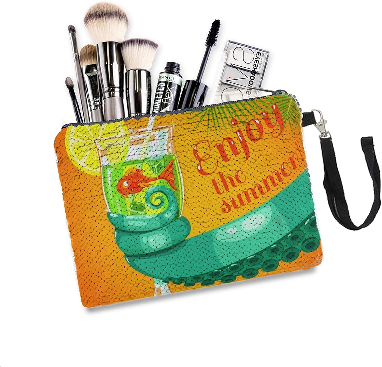 Glitter Makeup Bag Sunshiny Sea Time sale Octopus Max 57% OFF Palm Mermaid Summer Tree