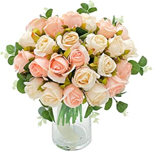 Fake Flowers Artificial Flower Rose 24 Heads and a Bunch of 9-Petal Eucalyptus Leaves Combination Silk Rose Bridal Wedding Party Holiday Decor Flores artificiales para decoracion (Champagne and Pink…