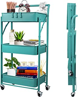 totolot 3-Tier Foldable Metal Rolling Utility Cart with Lockable Caster Wheels, Heavy Duty Storage Cart, Blue