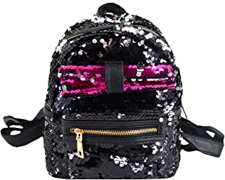 Mia Mini Sequins Bling Backpack Purse Cute Bowtie Backpack for Girls Black
