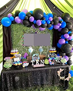 100Pcs Balloon Garland & Arch Kit-100pcs Purple Blue and Black Latex Balloons, 16 Feets Arch Balloon Strip, Glue Dots, Tyi...