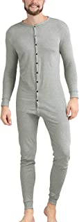 Mens Cotton Thermal Underwear Union Suits Henley Onesies Base Layer